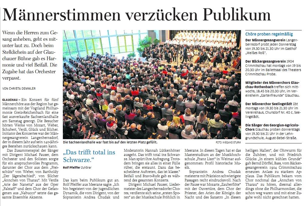 Chorsinfonisches Konzert in der Sachsenlandhalle in Glauchau